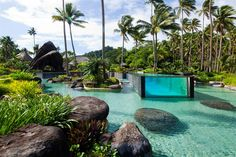 The pool-within-a-pool at Laucala Island, a 25-villa private-island resort in Fiji, in the South Pacific Ocean.