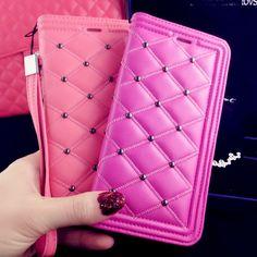 Luxury New Wallet Pearl Grid Skin Folding Flip Leather Case For iPhone 6 6 Plus Lanyard Mirror Cover handbag Iphone 5 6, Iphone Cases, 6 Case, Leather Case, Grid, Wallet, Pearls, Luxury, Cover