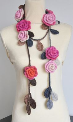 ROSA Pink and Orange Crochet Multicolor Roses by jennysunny