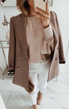 2020 lange Jacke im Käfig - Fotos, wie man einen Trend kombiniert - длинный пиджак в клетку 2020 – фото, как сочетать тренд Karierte Jacke – wie kombiniert man einen Modetrend? Blazer Outfits For Women, Casual Blazer Women, Flannel Outfits, Blazers For Women, Classy Outfits, Trendy Outfits, Cute Outfits, Sweater Outfits, Trajes Business Casual