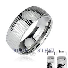 PIN IT TO WIN IT! Silver Tide:  This thick piece of metal around your finger is sure to give a bold and powerful look, The silver zebra stripes round the ring gives the look of a natural design.Though it is simple in design nothing can replace this simple yet elegant craft work.  $29.99  www.buybluesteel.com