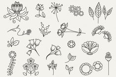 Floral Doodles clip art bumper pack by Katy Clemmans on Creative Market