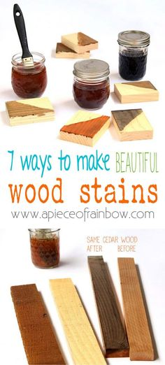 7 ways to make wood stain from natural household materials! These quick and easy wood stains are super effective, long lasting, low cost, and non-toxic!