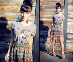 Up-do, modern skirt, and bohemian earrings = GORGEOUS