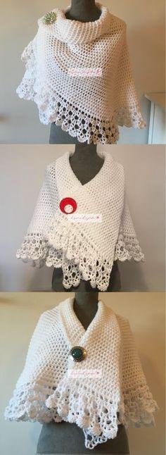 Hermosa Toquilla tejida con gancho. // Crochet cape.