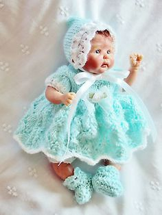 "Hand knitted doll clothes fits 6.1/2""-7"" inch OOAK sculpt artist baby"