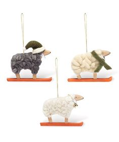 Look what I found on #zulily! Curly Sheep Ornament Set #zulilyfinds
