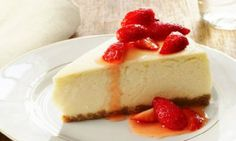 Looking for a decadent treat? Try this low-fat cheesecake with tangy strawberry kick.