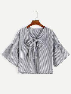 Shop Black Vertical Striped Bow Tie Front Bell Sleeve Top online. SheIn offers Black Vertical Striped Bow Tie Front Bell Sleeve Top & more to fit your fashionable needs.