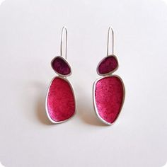 handmade silver and paper earrings