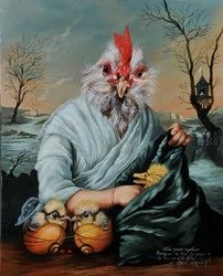 Anthropomorphic chicken painting by French painter Sylvia Karle Marquet. Chicken Painting, Chicken Art, Caricatures, Best Dog Toys, Animal Society, Rare Birds, Funky Art, Bird Art, Beautiful Birds