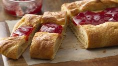 Start your Easter brunch with this PB&J Breakfast Danish from Jif® Brunch Recipes, Breakfast Recipes, Breakfast Ideas, Brunch Ideas, Danish Food, Danish Pastries, Breakfast Pastries, Pillsbury Recipes, How To Make Breakfast