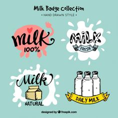 Pack of hand drawn vintage milk stickers Free Vector