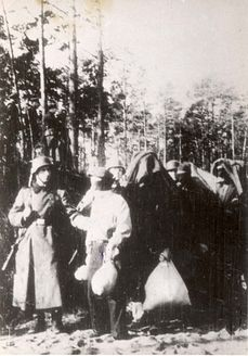 """Poland, A group of blindfolded Jewish Poles being lead to execution. """"No one should die like this and no one should be forgotten. So I'm putting this picture up so no one will forget the atrocities and to remember the victims of WWII.""""-Katrina Westall."""