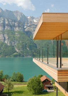 Single family home in Unterterzen, with a clear view of lake Walensse and the mountains of Churfirsten is spectacular.