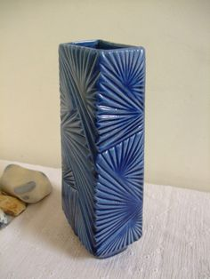 A vintage West German ceramic vase from Ü-Keramik, also known as Uebelacker.  This is a highly desirable Prussian blue rectangular vase with