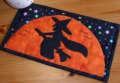 Flying Witch Mug Rug....cute, cute!!!