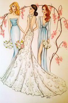 Custom Wedding Portrait Bride Illustration by loveillustration