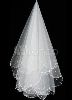 Voile nuptial brodé pour la mariée, Organza tissé unique - Milanoo.com  3,86 euros avec des petits pois