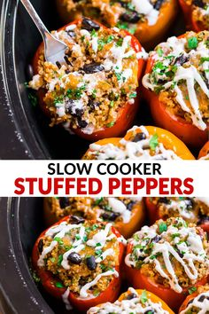 BEST EVER Mexican Crockpot Stuffed Peppers with quinoa black beans and ground tu. BEST EVER Mexican Crockpot Stuffed Peppers with quinoa black beans and ground turkey or chicken. Ground Turkey Stuffed Peppers, Vegetarian Stuffed Peppers, Slow Cooker Stuffed Peppers, Chicken Stuffed Peppers, Crockpot Peppers, Stuffed Pepper Crockpot, Whole 30 Stuffed Peppers, Mexican Stuffed Peppers, Turkey Crockpot Recipes