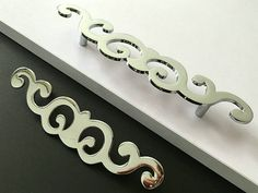 """3.75"""" 5"""" Cabinet Handles Pulls Drawer Pull Handles Dresser Knobs Chrome Silver Mirror Look Large Door Handle Modern Hardware 96 128 mm by Anglehome on Etsy"""