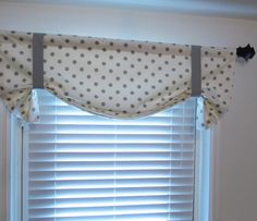 White Gray POLKA DOT Tie Up Curtain Valance  by supplierofdreams, $49.00