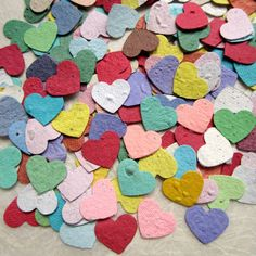 450 Plantable Paper Mini Confetti Hearts with Flower Seeds - Colorful Rainbow Assortment, Recycledideas @ Etsy
