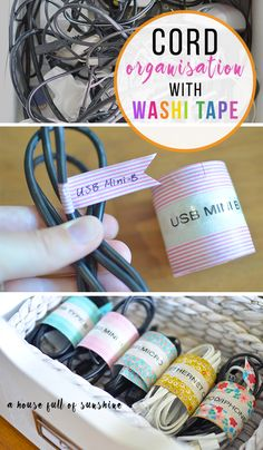 This is a great way to organise those tangled, messy cords! So simple and cheap - you won't believe what she used!