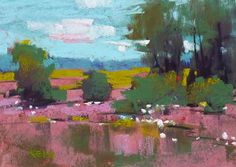 Landscape Painting Sweet Grass Coastal LOW by KarenMargulisFineArt, $75.00