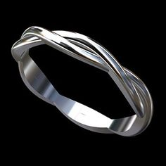 Solid 14K White Gold Infinity Twisted Wedding Band Ring #PPluxury