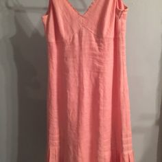 Pink linen sundress Pink linen sundress with pleated front Dresses Midi