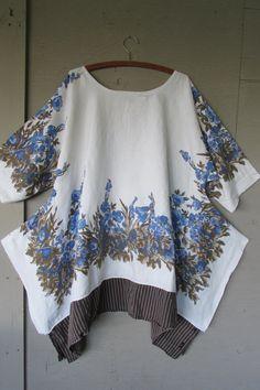 4 X Lagenlook tunic upcycled clothing Boho par lillienoradrygoods