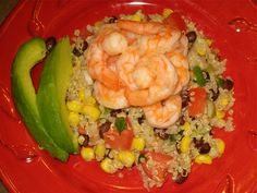Mexican Quinoa Salad with Shrimp and Avocado. I'm using fresh corn sliced off cob and prob 1/2 tsp of chili paste...
