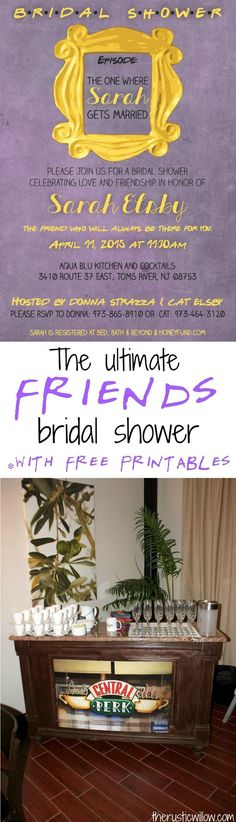 The ultimate Friends Tv Show Bridal shower with free printables, games and favor ideas | therusticwillow.com