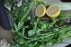 Raw Celery Parsley Sauce: Raw and Green: This sauce is packed with Vitamins A and C and virtually calorie free! Parsley, celery, lemon juice, and garlic-that's it! Great to drizzle on fish, eggs, or protein of choice (could even make a good spread on fresh, crispy bread) #vegan #vegansauce #rawsauces #rawfoods #vitamixrecipes #toothfood #greensauce #glutenfree
