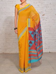 Yellow Orange Flora Jamdani Silk Cotton Saree