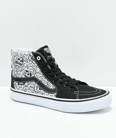 03f840e647 Vans x Sketchy Tank Sk8-Hi Pro Reflective Black   White Skate Shoes  Checkered Vans