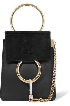 Black suede and leather (Calf) Snap-fastening front flap Comes with dust bag Made in Italy