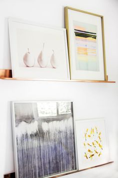 Copper art shelves, leaning gallery wall on Thou Swell @thouswellblog