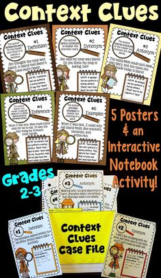 Context Clues Poster Set and Interactive Notebook Activity! Introduce students to the 5 types of context clues with this activity!