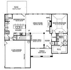 Colonial Style House Plan - 3 Beds 2.5 Baths 1694 Sq/Ft Plan #119-258 Floor Plan - Main Floor Plan - Houseplans.com