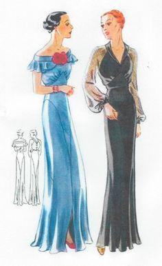 1939 Vintage Sewing Pattern B38 Evening Dress R959   eBay