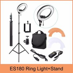 """ES180 180 LED 18"""" Stepless Adjustable Ring Light Camera Photo/Video 180pcs LED 5500K Dimmable+ phone clamp + stand"""