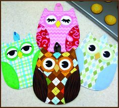 """Full-sized pattern pieces to sew up darling Owl hot pads - sew quick, easy and functional! Finished size 9"""" x 7"""" and Fat Quarter Friendly Too!"""