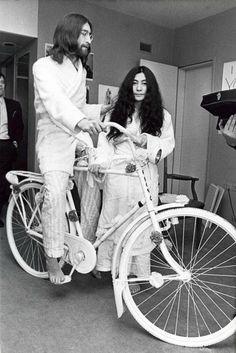 Torn and frayed — John Lennon riding a bike inside the Hilton Hotel...