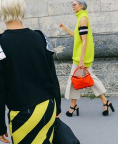 Loewe bag spotted on the street at Paris Fashion Week. Photographed by Phil Oh.