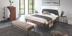 Fine-Line  modèle Syma 18 en noyer massif,  Tête de lit Mona en cuir 516 Pieds Tondito anthacit de 20 cm Furniture, Home Decor, Decor, Bed