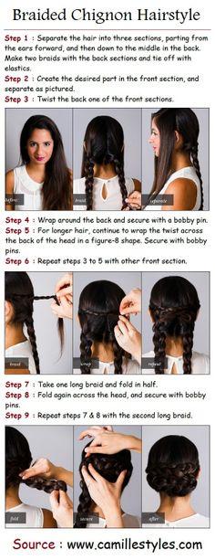 PinTutorials: Hair Tutorials braided chignon