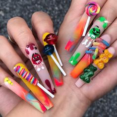 Beautiful nail art designs with lovely colour and lollypops 🤩🍭🍭 Crazy Nail Designs, Toe Nail Designs, Acrylic Nail Designs, Nails Design, Art Designs, Polygel Nails, Bling Nails, Swag Nails, Stiletto Nails