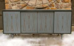 Mid Century Modern Console - Steel gray and black. Lightly distressed.